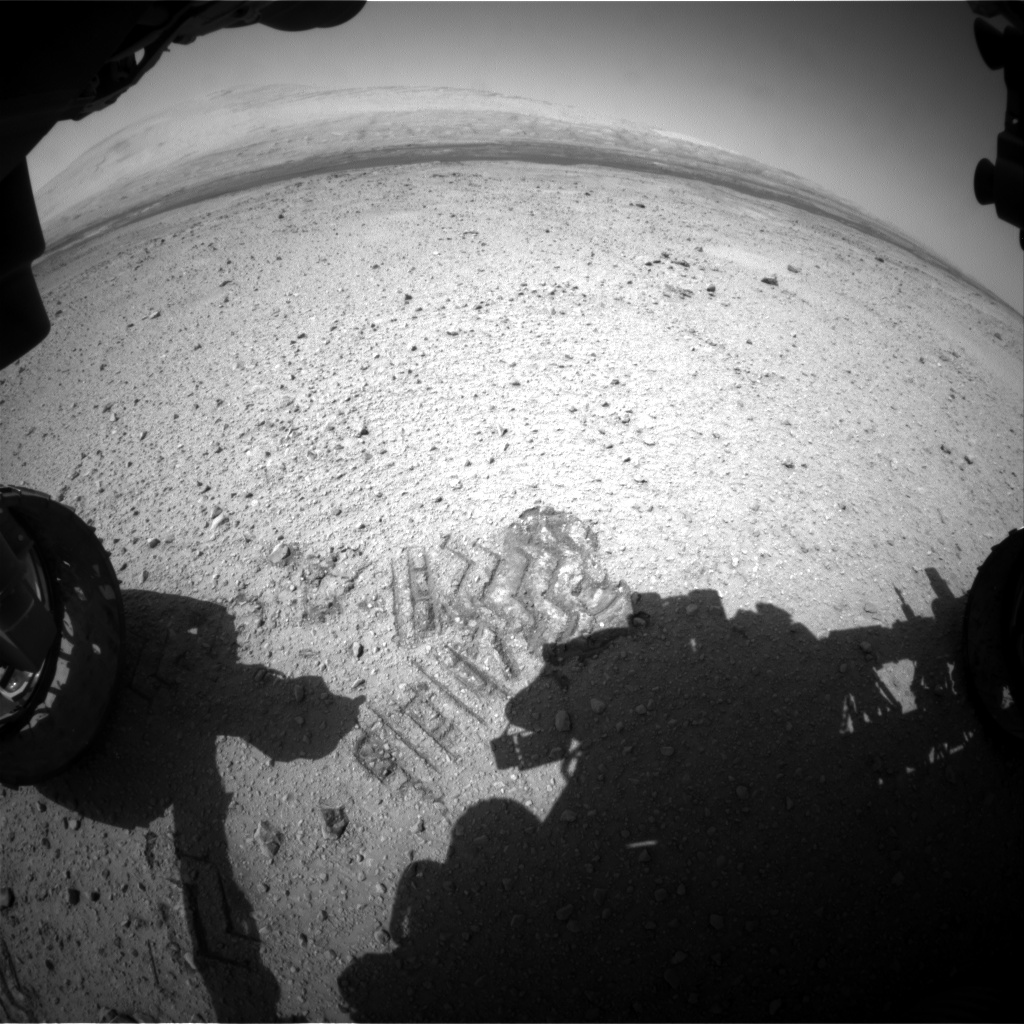 Nasa's Mars rover Curiosity acquired this image using its Front Hazard Avoidance Camera (Front Hazcam) on Sol 414, at drive 422, site number 18