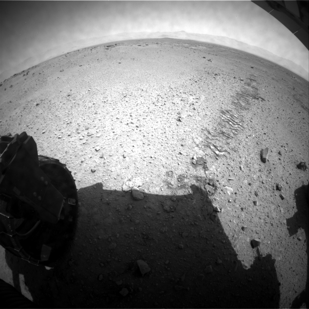NASA's Mars rover Curiosity acquired this image using its Rear Hazard Avoidance Cameras (Rear Hazcams) on Sol 414