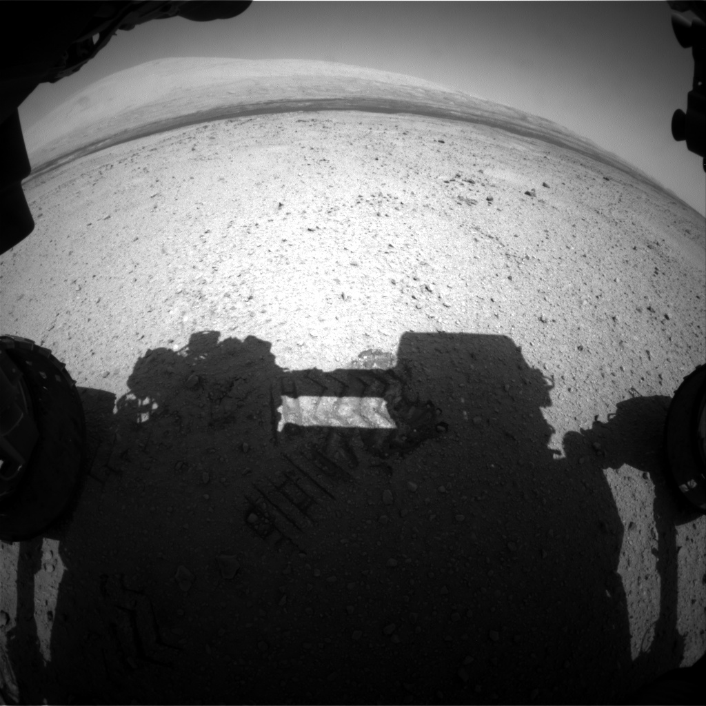 Nasa's Mars rover Curiosity acquired this image using its Front Hazard Avoidance Camera (Front Hazcam) on Sol 417, at drive 422, site number 18
