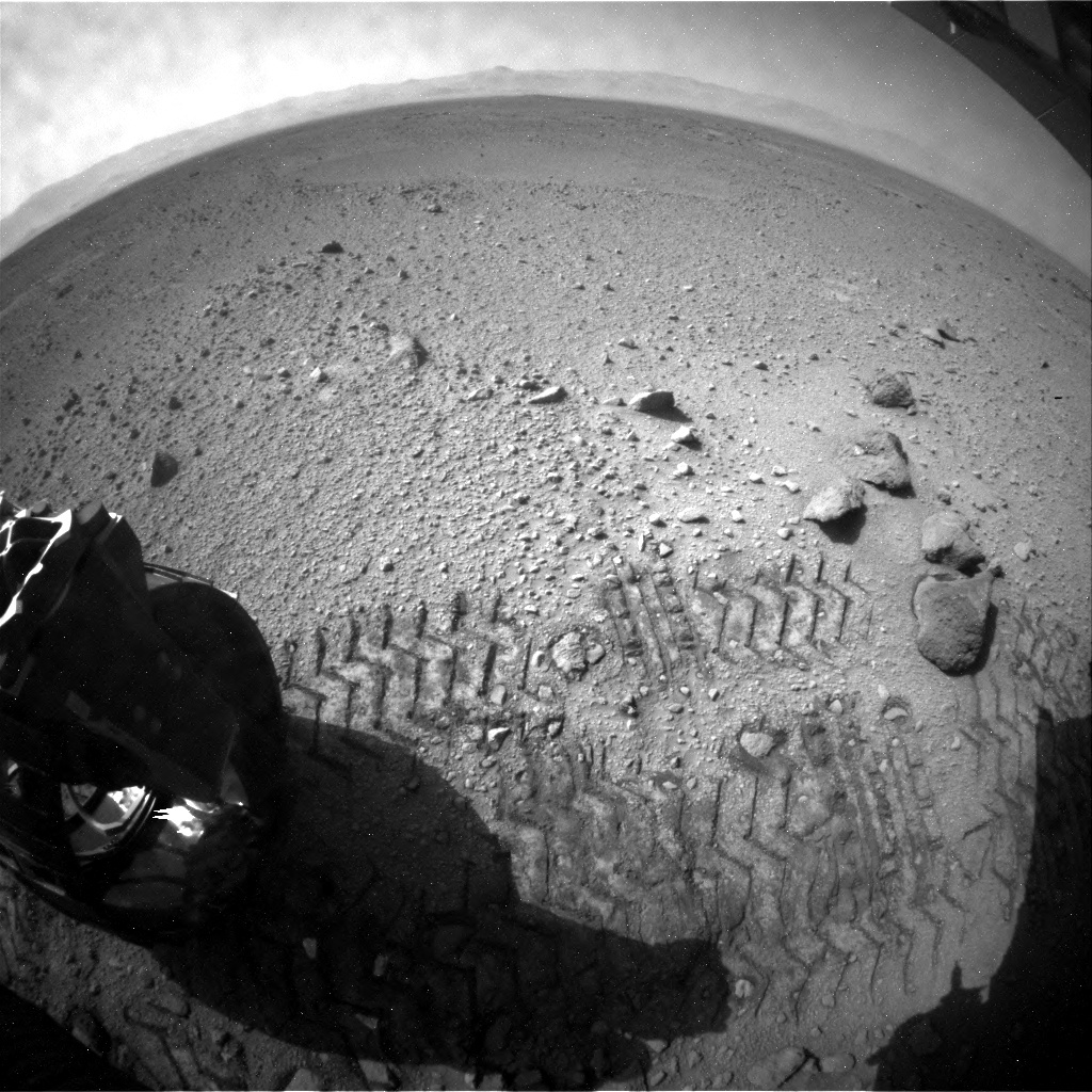 NASA's Mars rover Curiosity acquired this image using its Rear Hazard Avoidance Cameras (Rear Hazcams) on Sol 417