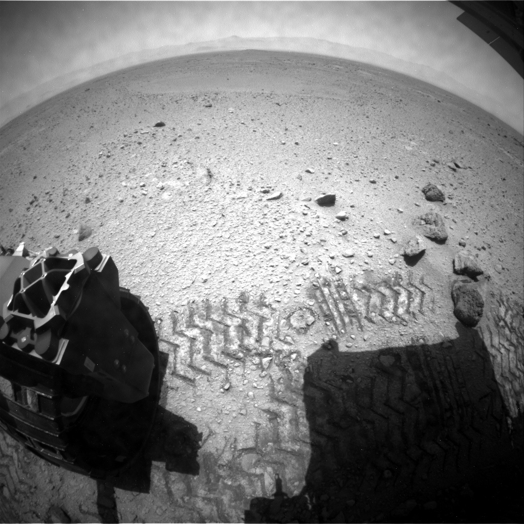 NASA's Mars rover Curiosity acquired this image using its Rear Hazard Avoidance Cameras (Rear Hazcams) on Sol 418