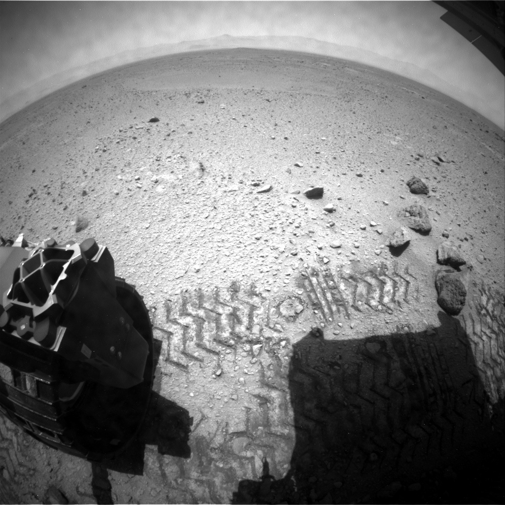 NASA's Mars rover Curiosity acquired this image using its Rear Hazard Avoidance Cameras (Rear Hazcams) on Sol 419
