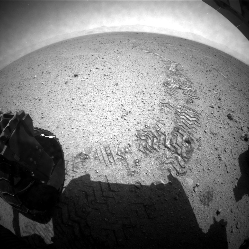 NASA's Mars rover Curiosity acquired this image using its Rear Hazard Avoidance Cameras (Rear Hazcams) on Sol 420