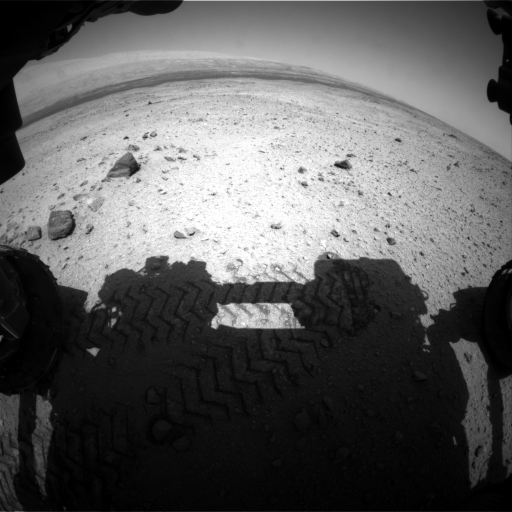 NASA's Mars rover Curiosity acquired this image using its Front Hazard Avoidance Cameras (Front Hazcams) on Sol 421