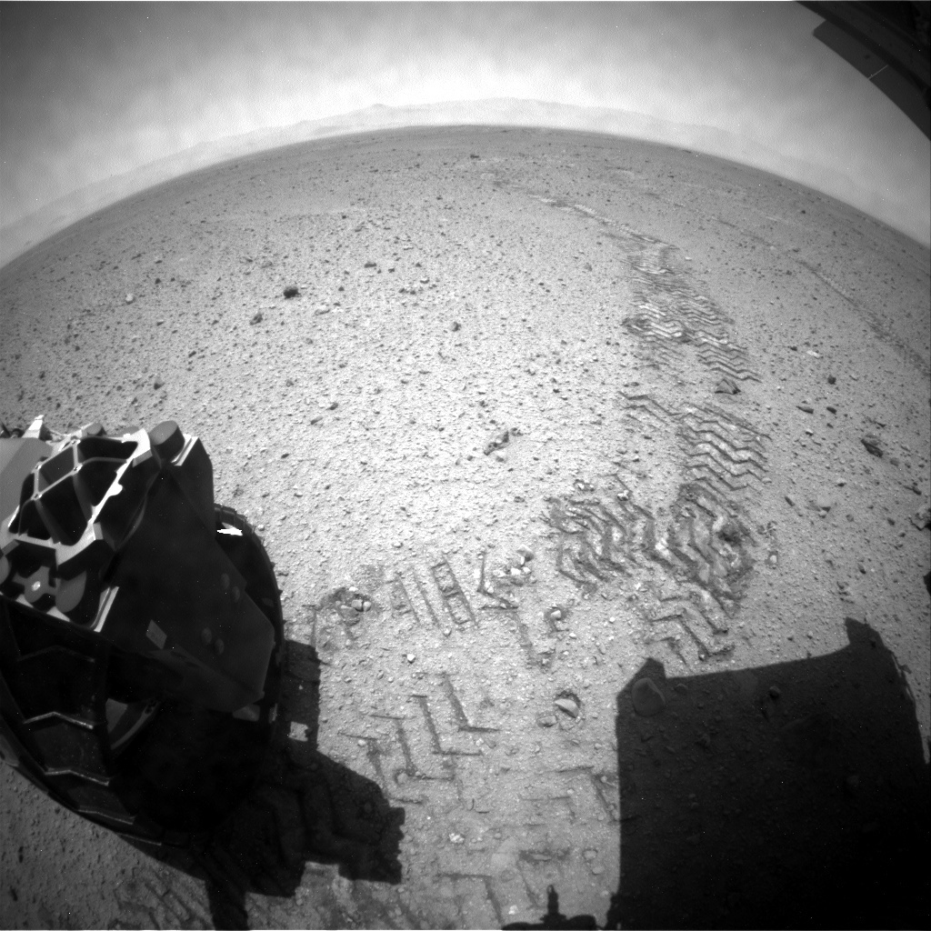 NASA's Mars rover Curiosity acquired this image using its Rear Hazard Avoidance Cameras (Rear Hazcams) on Sol 421