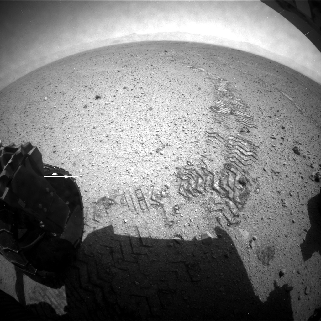 NASA's Mars rover Curiosity acquired this image using its Rear Hazard Avoidance Cameras (Rear Hazcams) on Sol 422
