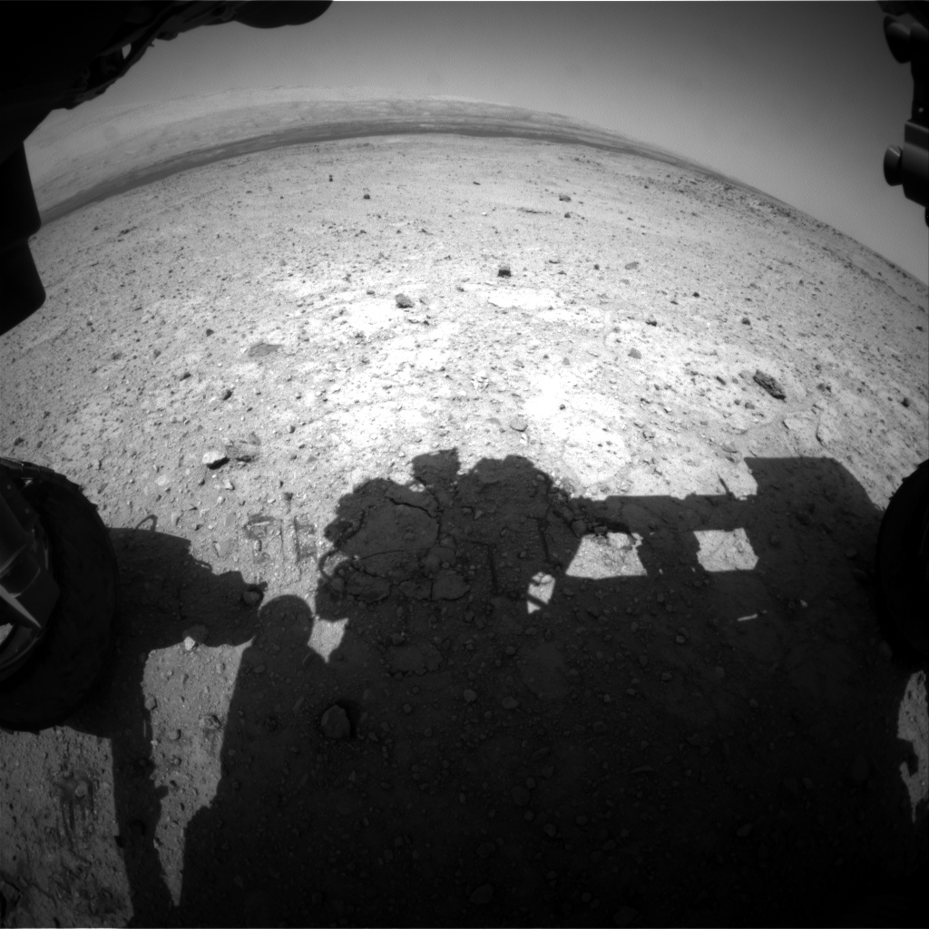 Nasa's Mars rover Curiosity acquired this image using its Front Hazard Avoidance Camera (Front Hazcam) on Sol 424, at drive 320, site number 19