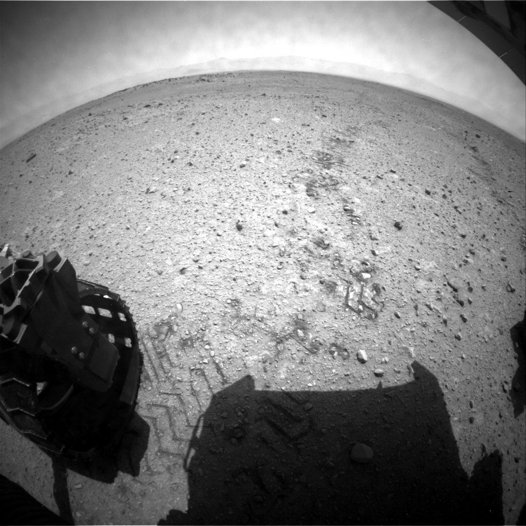 NASA's Mars rover Curiosity acquired this image using its Rear Hazard Avoidance Cameras (Rear Hazcams) on Sol 424