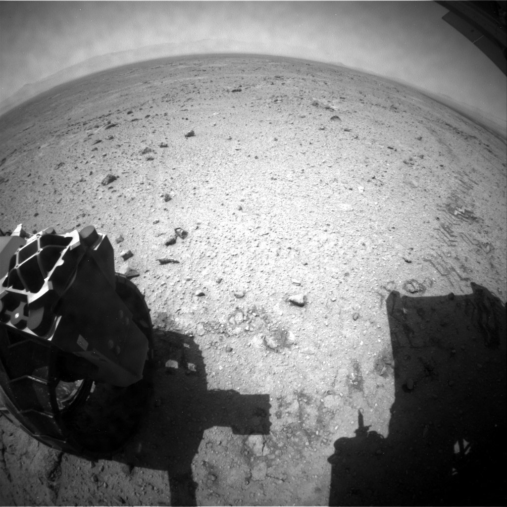 NASA's Mars rover Curiosity acquired this image using its Rear Hazard Avoidance Cameras (Rear Hazcams) on Sol 435