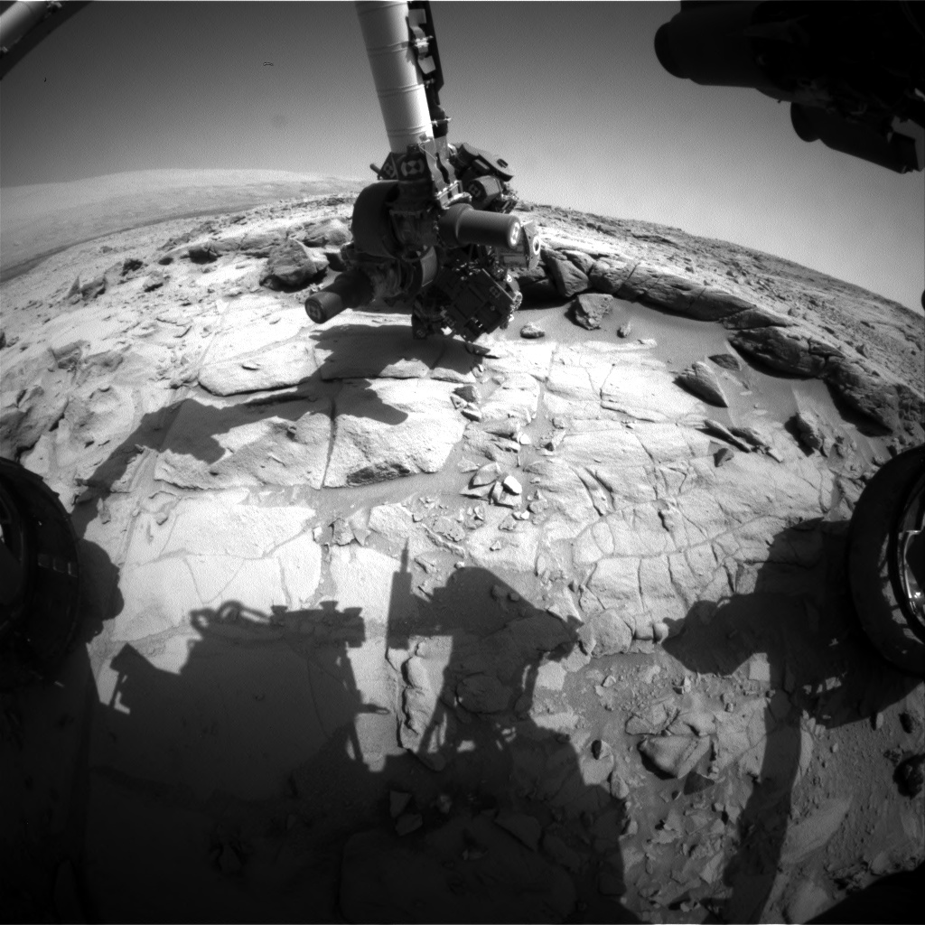 Nasa's Mars rover Curiosity acquired this image using its Front Hazard Avoidance Camera (Front Hazcam) on Sol 442, at drive 0, site number 22