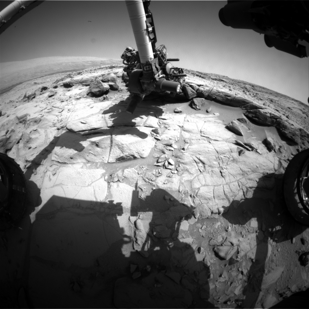 Nasa's Mars rover Curiosity acquired this image using its Front Hazard Avoidance Camera (Front Hazcam) on Sol 443, at drive 0, site number 22