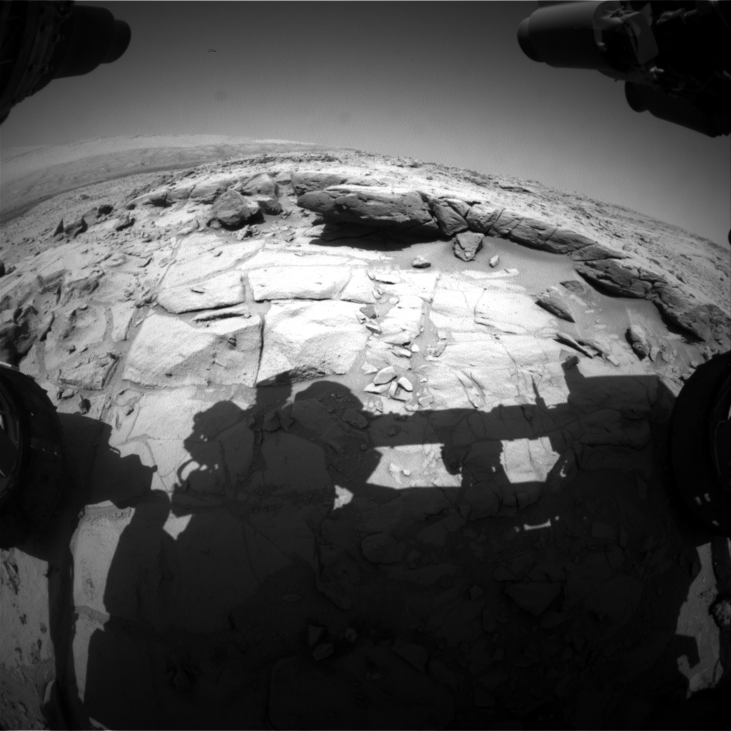 Nasa's Mars rover Curiosity acquired this image using its Front Hazard Avoidance Camera (Front Hazcam) on Sol 453, at drive 0, site number 22
