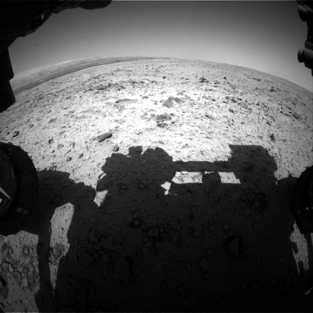 Nasa's Mars rover Curiosity acquired this image using its Front Hazard Avoidance Camera (Front Hazcam) on Sol 455, at drive 0, site number 23