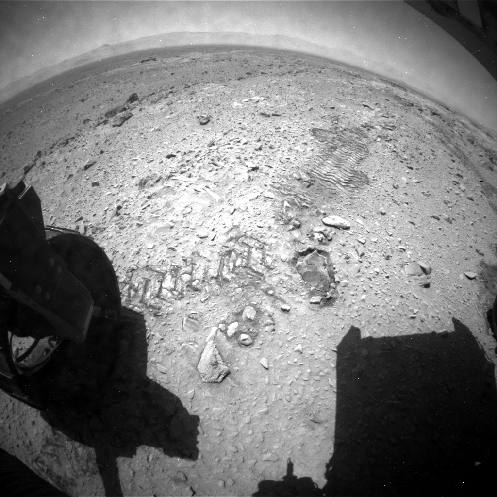 NASA's Mars rover Curiosity acquired this image using its Rear Hazard Avoidance Cameras (Rear Hazcams) on Sol 476