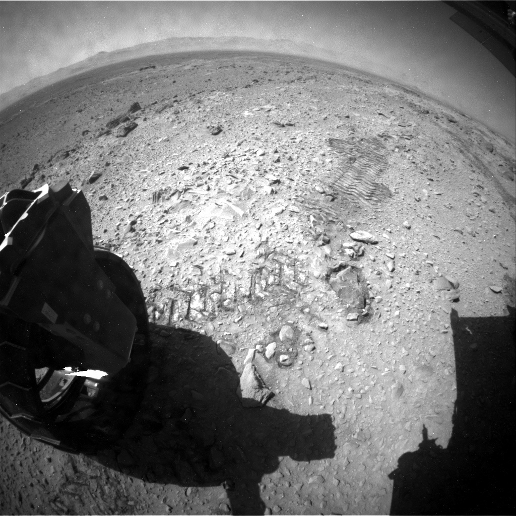 NASA's Mars rover Curiosity acquired this image using its Rear Hazard Avoidance Cameras (Rear Hazcams) on Sol 477