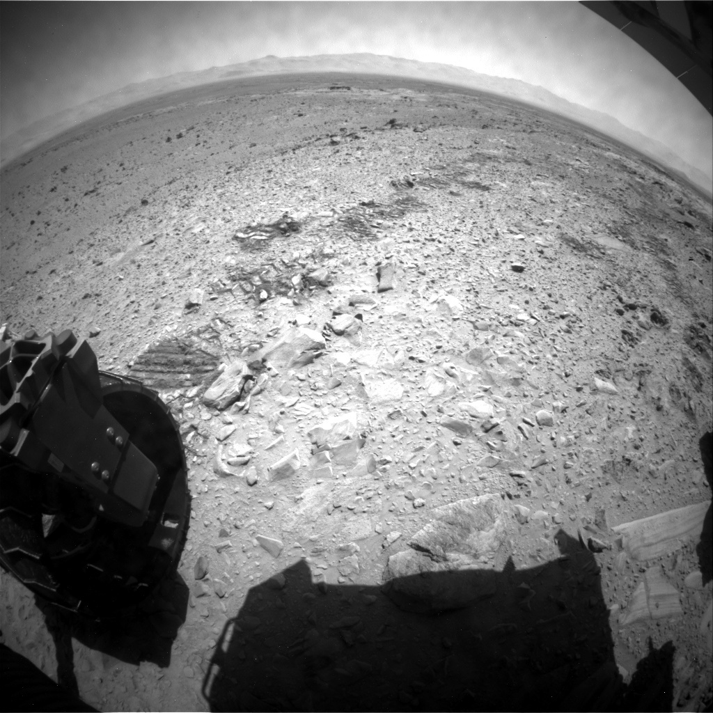 NASA's Mars rover Curiosity acquired this image using its Rear Hazard Avoidance Cameras (Rear Hazcams) on Sol 485