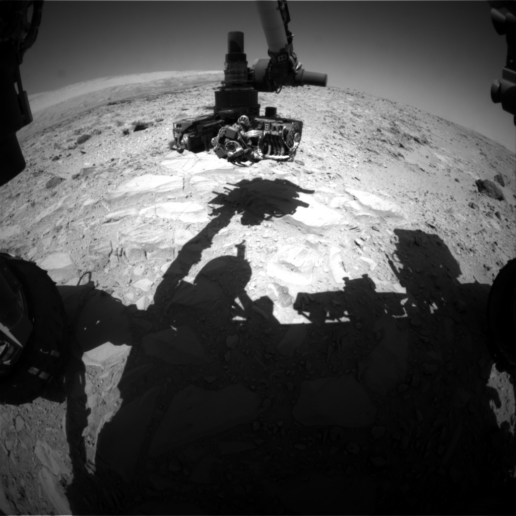 Nasa's Mars rover Curiosity acquired this image using its Front Hazard Avoidance Camera (Front Hazcam) on Sol 488, at drive 366, site number 24