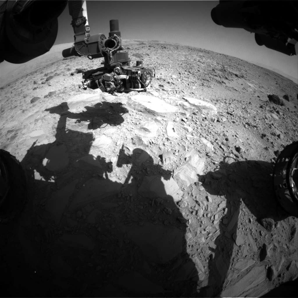 Nasa's Mars rover Curiosity acquired this image using its Front Hazard Avoidance Camera (Front Hazcam) on Sol 488, at drive 372, site number 24