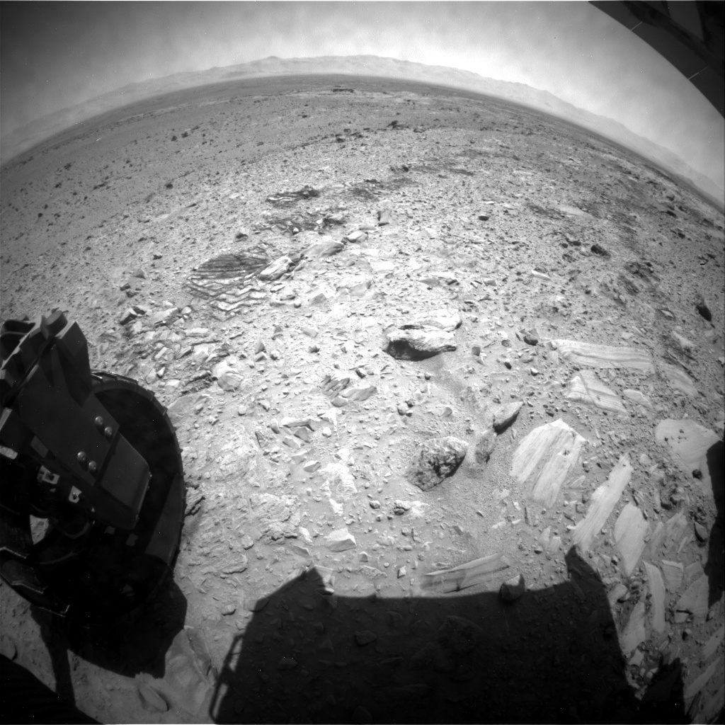 NASA's Mars rover Curiosity acquired this image using its Rear Hazard Avoidance Cameras (Rear Hazcams) on Sol 492