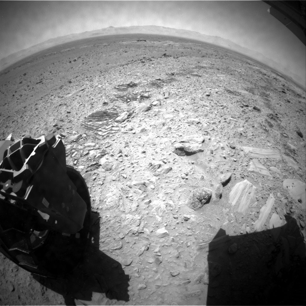 NASA's Mars rover Curiosity acquired this image using its Rear Hazard Avoidance Cameras (Rear Hazcams) on Sol 493