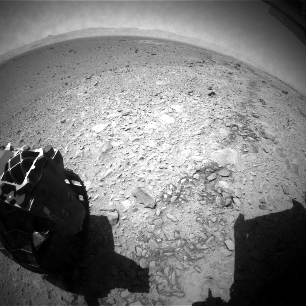 NASA's Mars rover Curiosity acquired this image using its Rear Hazard Avoidance Cameras (Rear Hazcams) on Sol 505