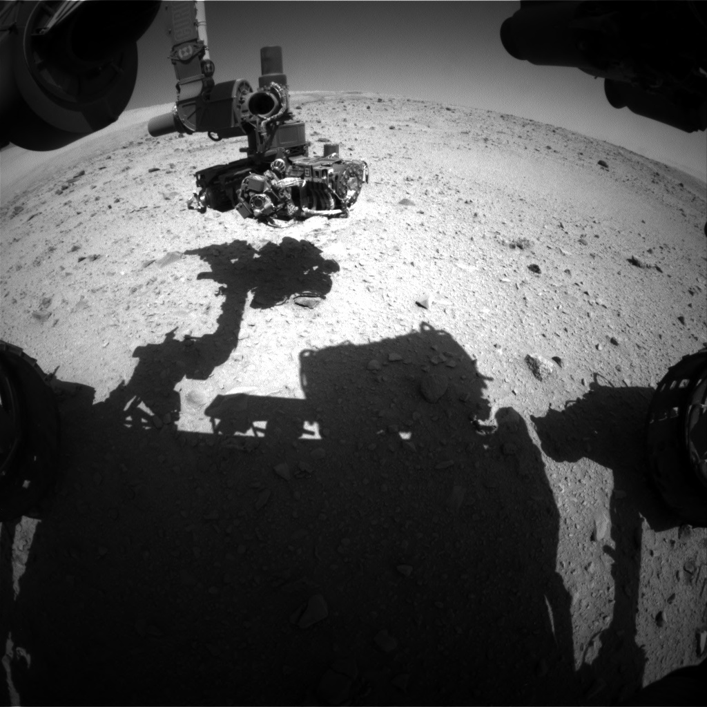 Nasa's Mars rover Curiosity acquired this image using its Front Hazard Avoidance Camera (Front Hazcam) on Sol 513, at drive 528, site number 25