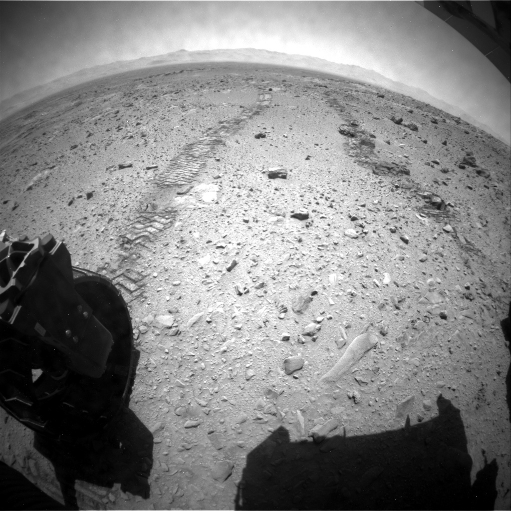 NASA's Mars rover Curiosity acquired this image using its Rear Hazard Avoidance Cameras (Rear Hazcams) on Sol 515