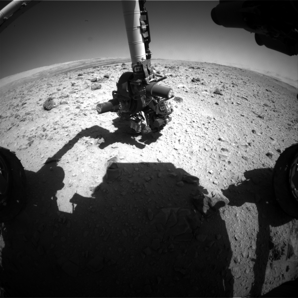 Nasa's Mars rover Curiosity acquired this image using its Front Hazard Avoidance Camera (Front Hazcam) on Sol 517, at drive 750, site number 25