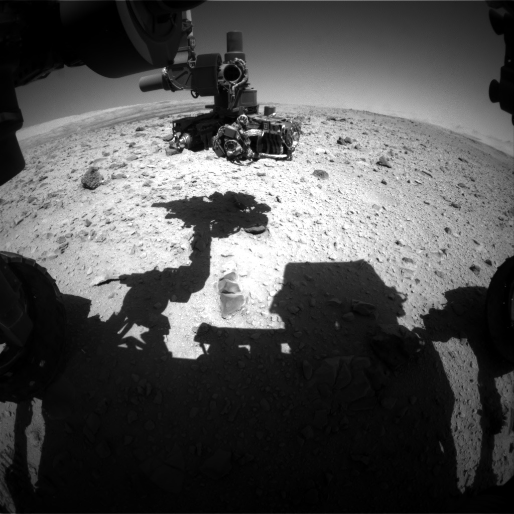 Nasa's Mars rover Curiosity acquired this image using its Front Hazard Avoidance Camera (Front Hazcam) on Sol 518, at drive 750, site number 25