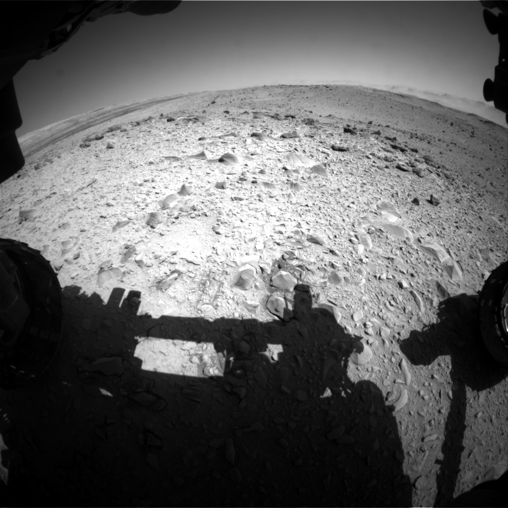 Nasa's Mars rover Curiosity acquired this image using its Front Hazard Avoidance Camera (Front Hazcam) on Sol 518, at drive 886, site number 25