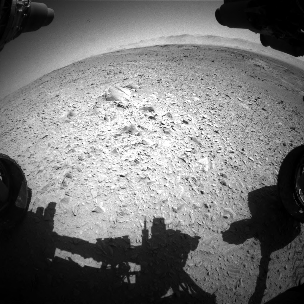 Nasa's Mars rover Curiosity acquired this image using its Front Hazard Avoidance Camera (Front Hazcam) on Sol 518, at drive 810, site number 25