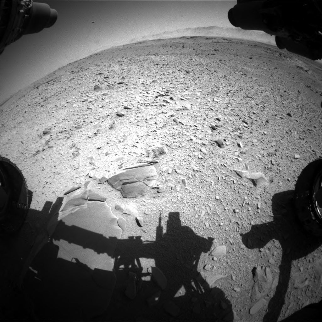 Nasa's Mars rover Curiosity acquired this image using its Front Hazard Avoidance Camera (Front Hazcam) on Sol 518, at drive 828, site number 25
