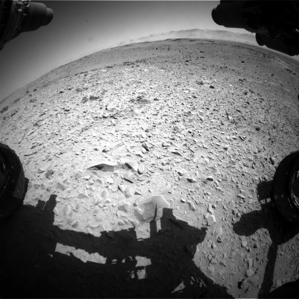 Nasa's Mars rover Curiosity acquired this image using its Front Hazard Avoidance Camera (Front Hazcam) on Sol 518, at drive 852, site number 25