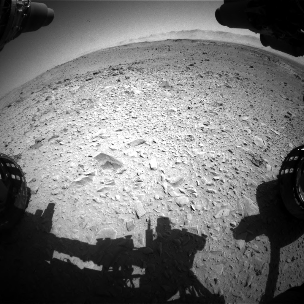Nasa's Mars rover Curiosity acquired this image using its Front Hazard Avoidance Camera (Front Hazcam) on Sol 518, at drive 864, site number 25