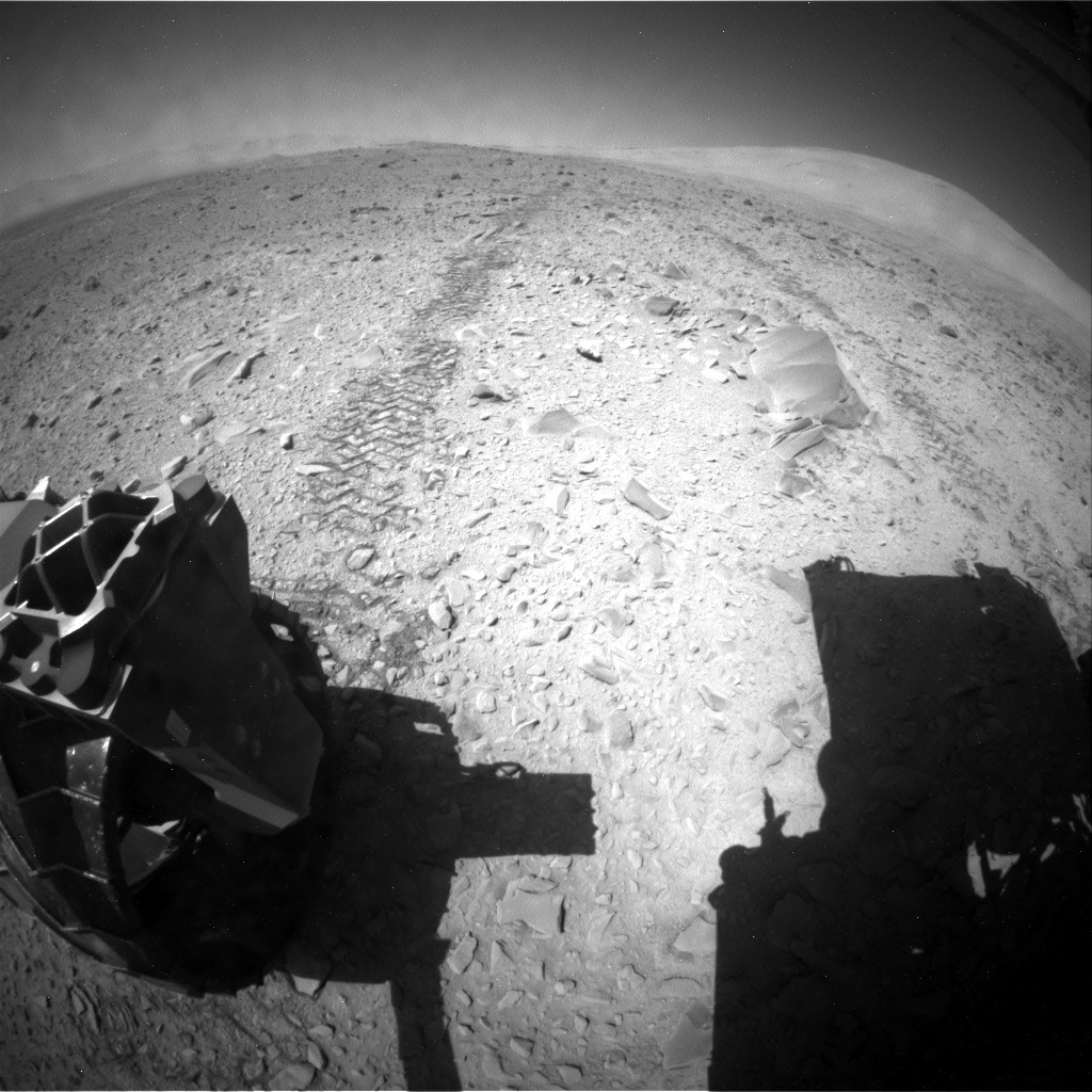 NASA's Mars rover Curiosity acquired this image using its Rear Hazard Avoidance Cameras (Rear Hazcams) on Sol 518