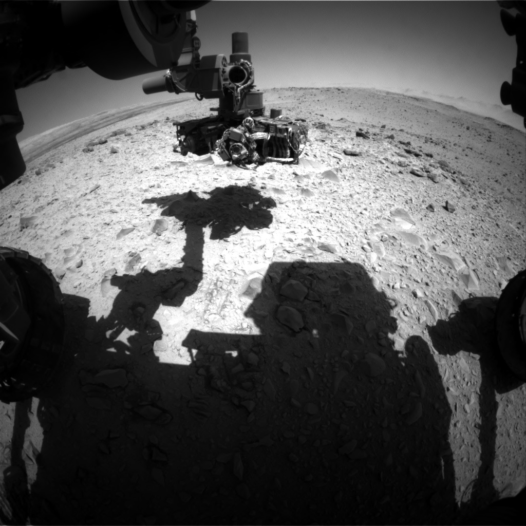 Nasa's Mars rover Curiosity acquired this image using its Front Hazard Avoidance Camera (Front Hazcam) on Sol 519, at drive 886, site number 25