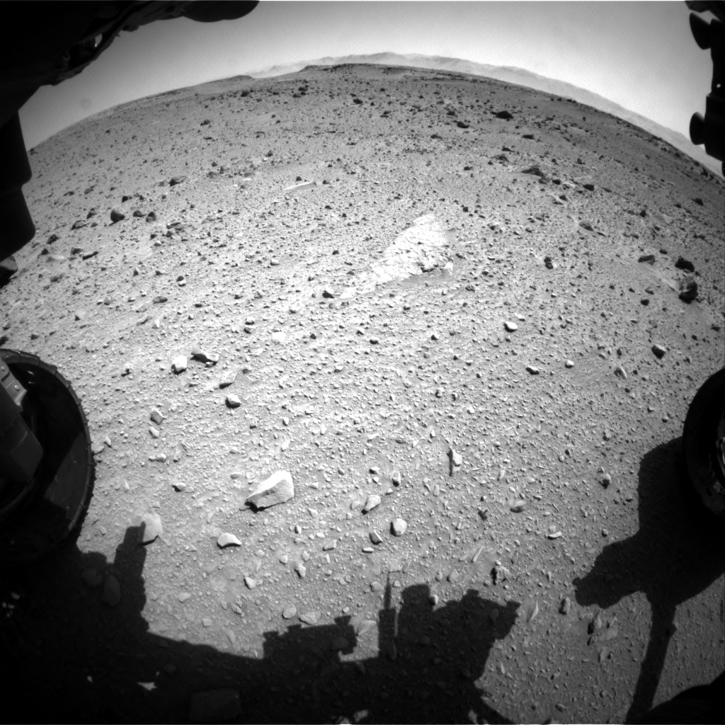Nasa's Mars rover Curiosity acquired this image using its Front Hazard Avoidance Camera (Front Hazcam) on Sol 519, at drive 1042, site number 25