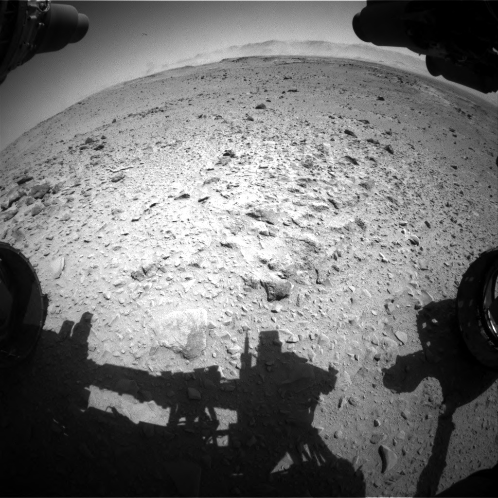 Nasa's Mars rover Curiosity acquired this image using its Front Hazard Avoidance Camera (Front Hazcam) on Sol 519, at drive 910, site number 25
