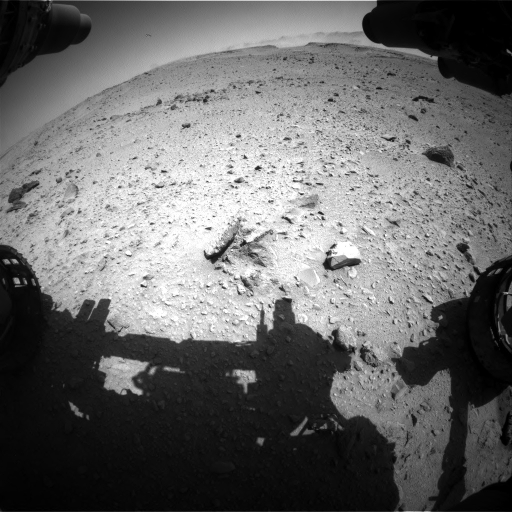 Nasa's Mars rover Curiosity acquired this image using its Front Hazard Avoidance Camera (Front Hazcam) on Sol 519, at drive 946, site number 25
