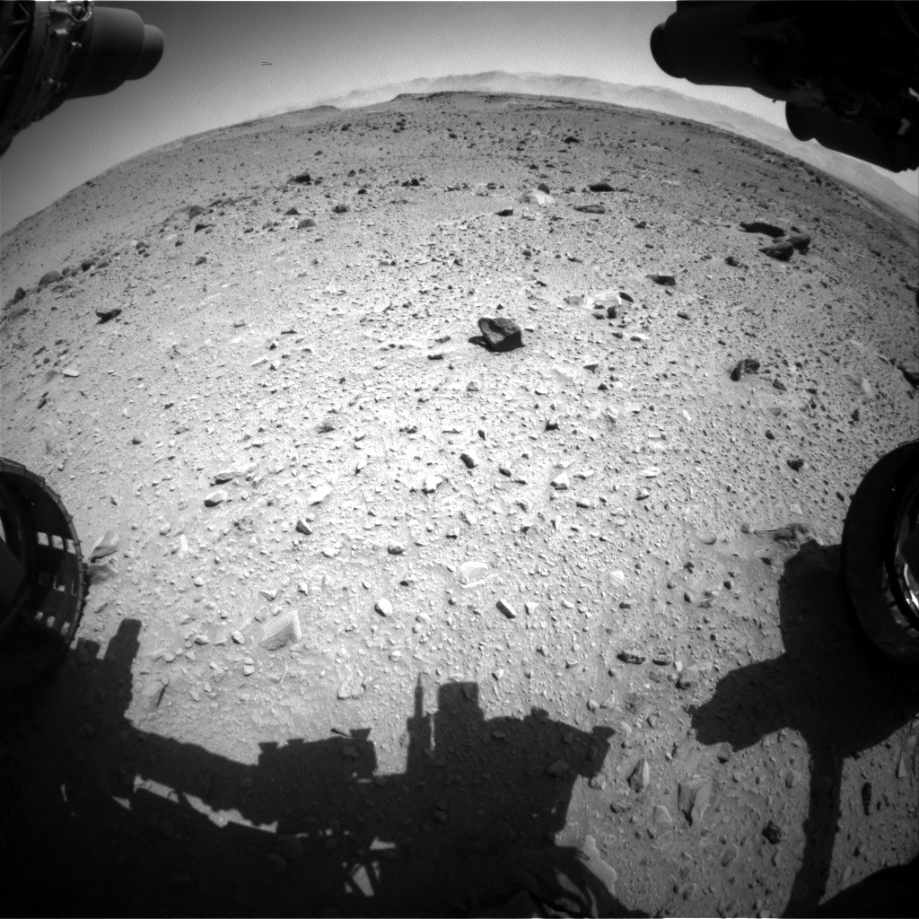 Nasa's Mars rover Curiosity acquired this image using its Front Hazard Avoidance Camera (Front Hazcam) on Sol 519, at drive 988, site number 25