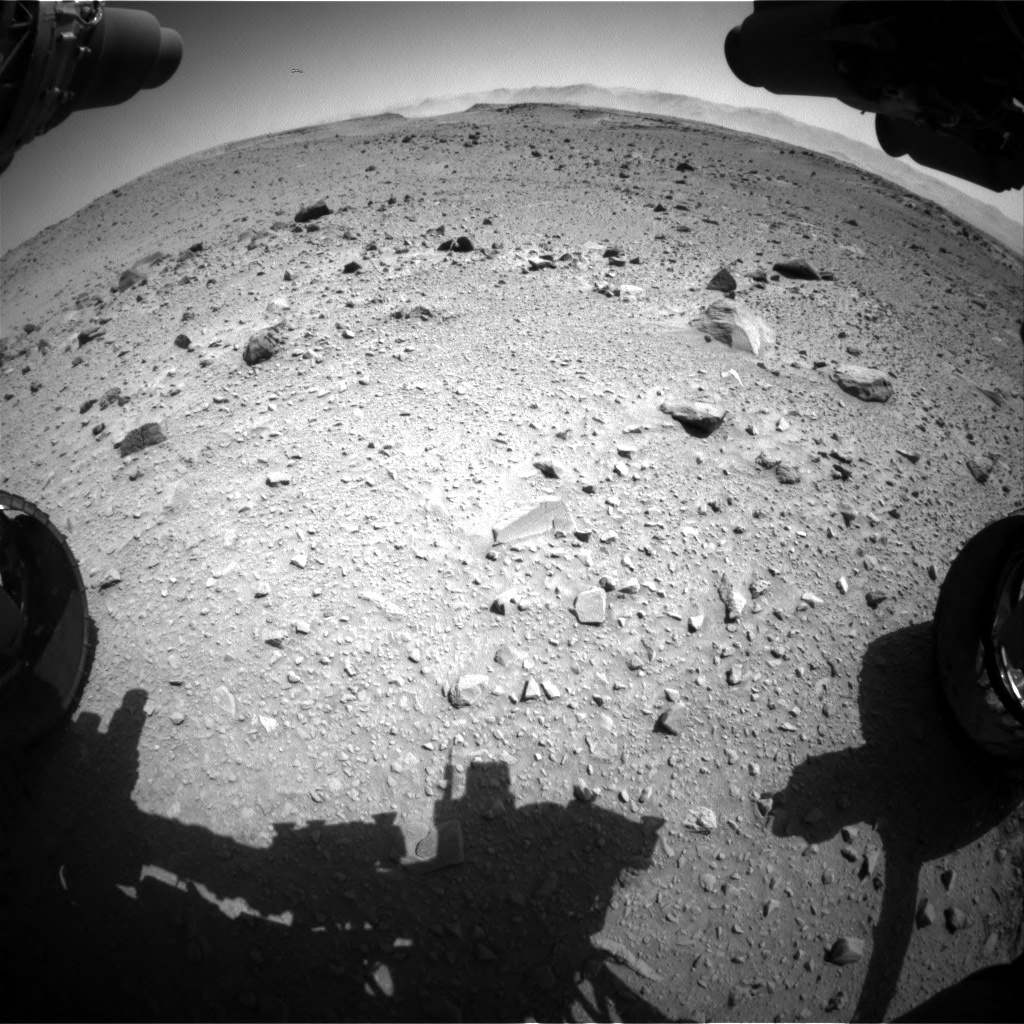Nasa's Mars rover Curiosity acquired this image using its Front Hazard Avoidance Camera (Front Hazcam) on Sol 519, at drive 1006, site number 25