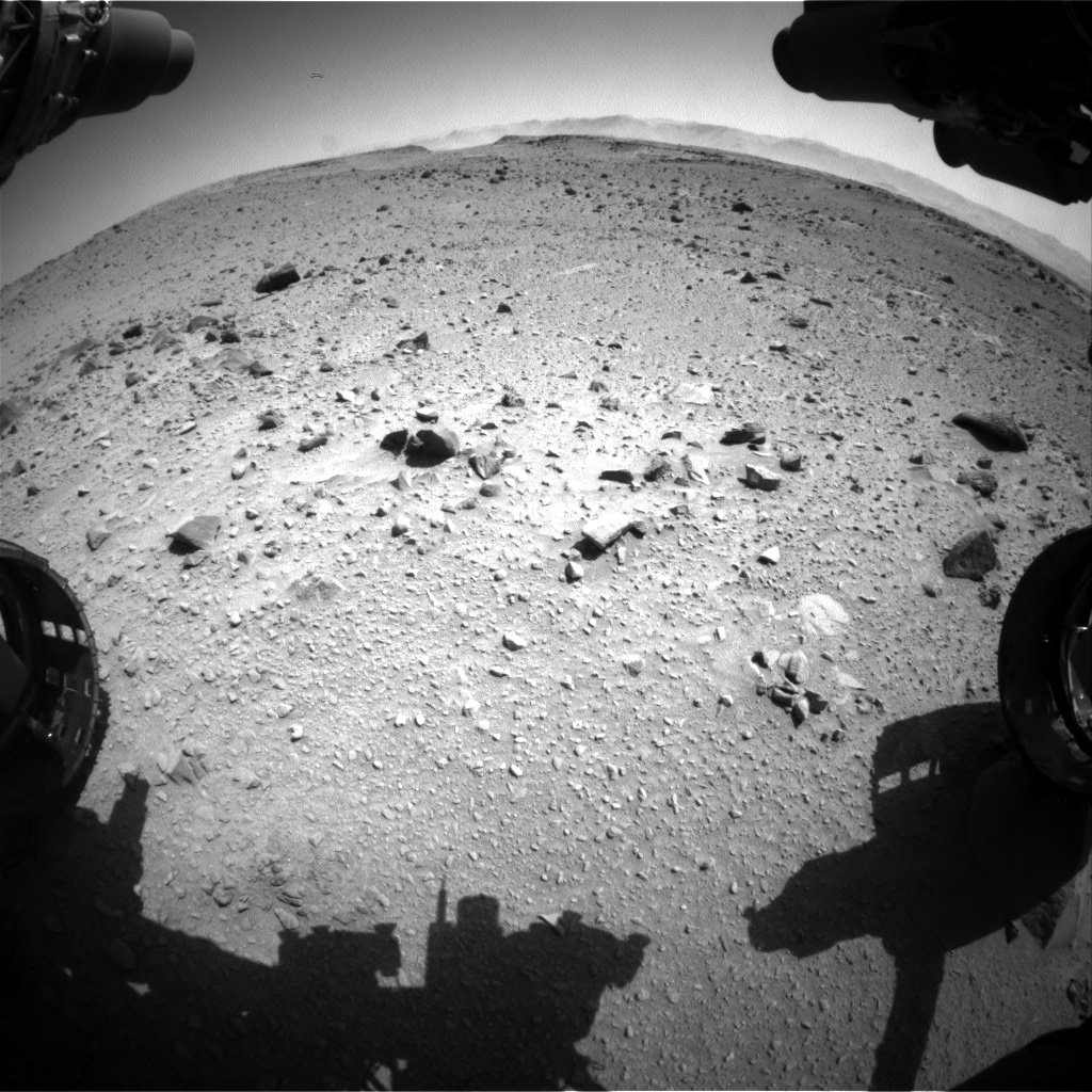 Nasa's Mars rover Curiosity acquired this image using its Front Hazard Avoidance Camera (Front Hazcam) on Sol 519, at drive 1018, site number 25