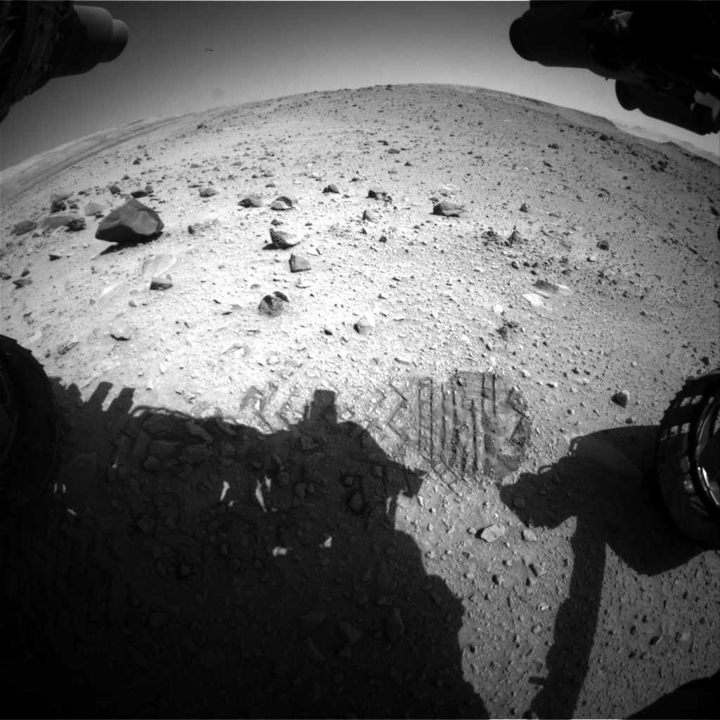 Nasa's Mars rover Curiosity acquired this image using its Front Hazard Avoidance Camera (Front Hazcam) on Sol 519, at drive 1070, site number 25