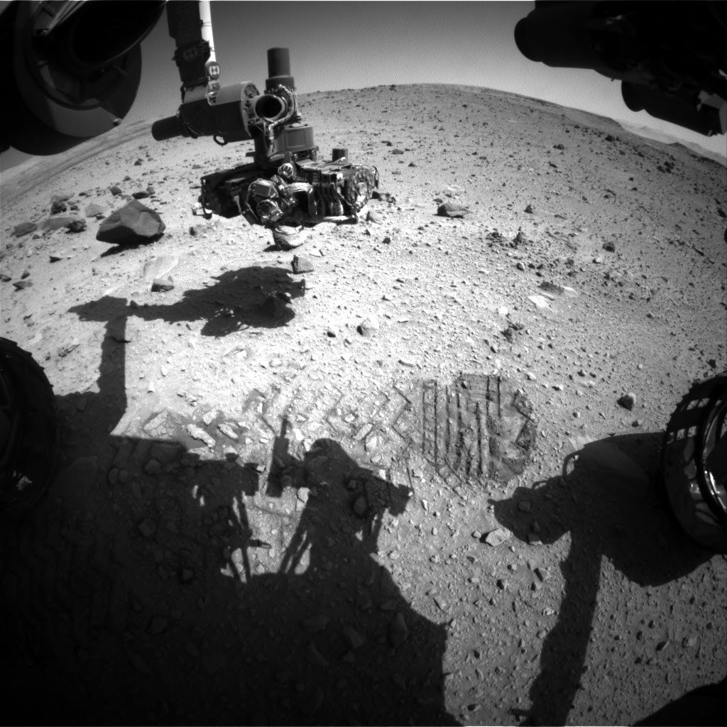 Nasa's Mars rover Curiosity acquired this image using its Front Hazard Avoidance Camera (Front Hazcam) on Sol 520, at drive 1070, site number 25