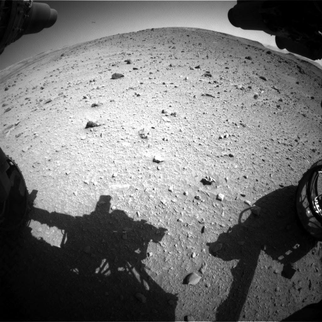 Nasa's Mars rover Curiosity acquired this image using its Front Hazard Avoidance Camera (Front Hazcam) on Sol 520, at drive 1106, site number 25
