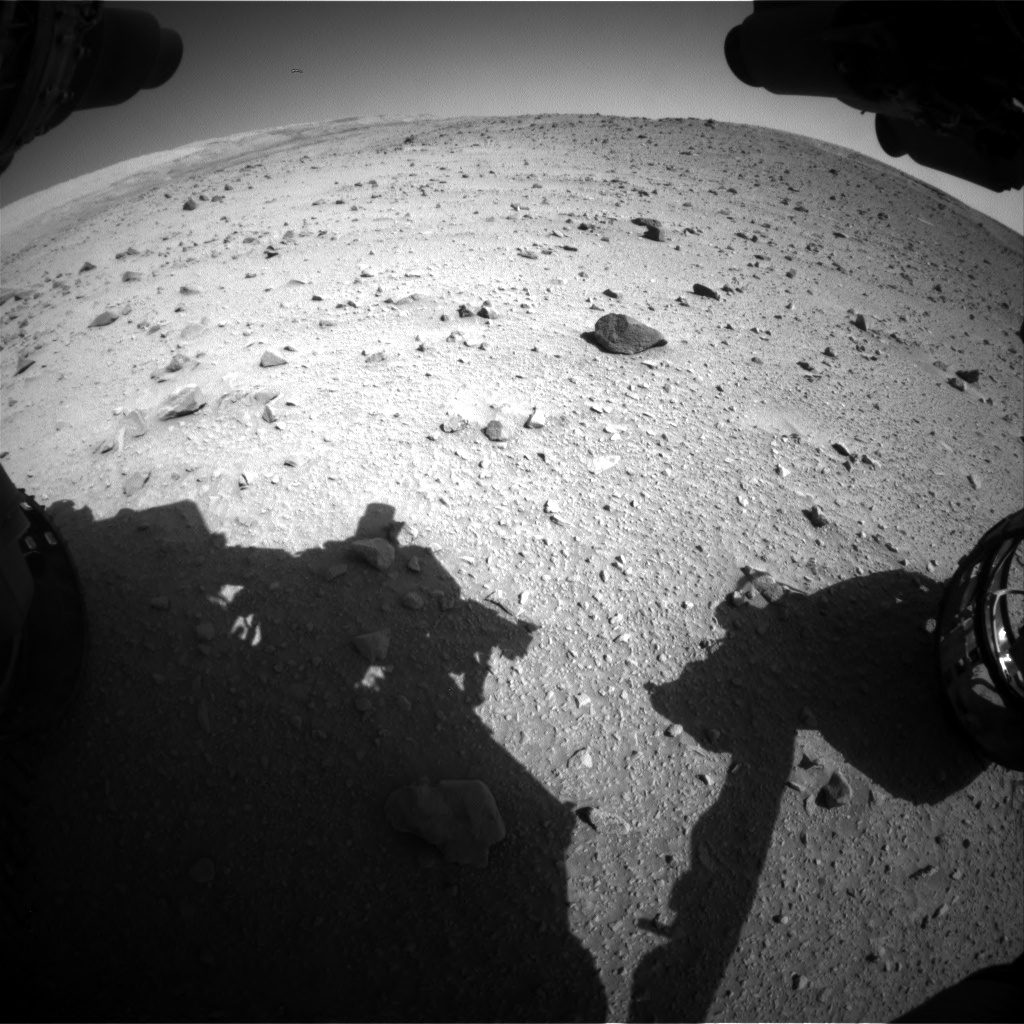 Nasa's Mars rover Curiosity acquired this image using its Front Hazard Avoidance Camera (Front Hazcam) on Sol 520, at drive 1118, site number 25