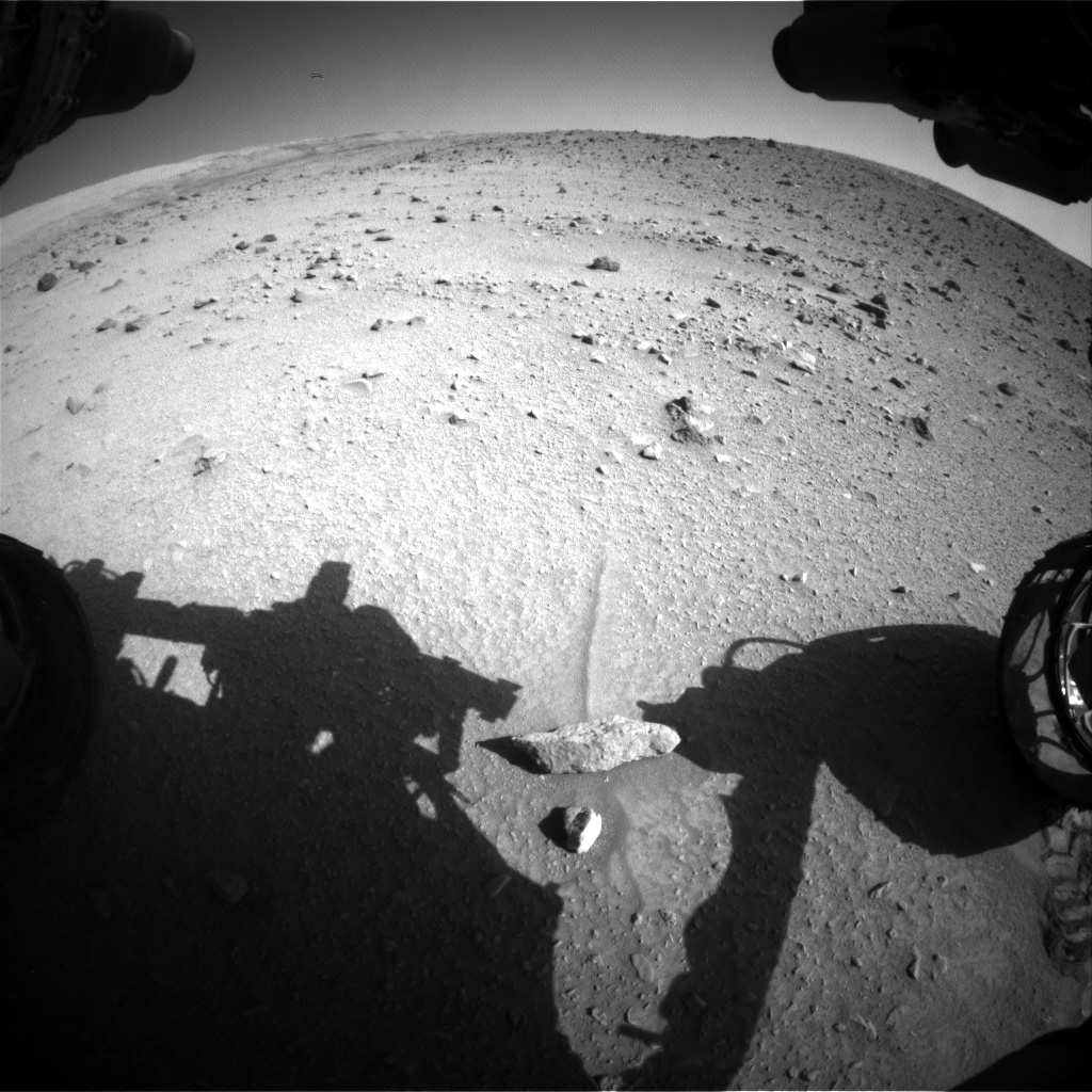Nasa's Mars rover Curiosity acquired this image using its Front Hazard Avoidance Camera (Front Hazcam) on Sol 520, at drive 1154, site number 25