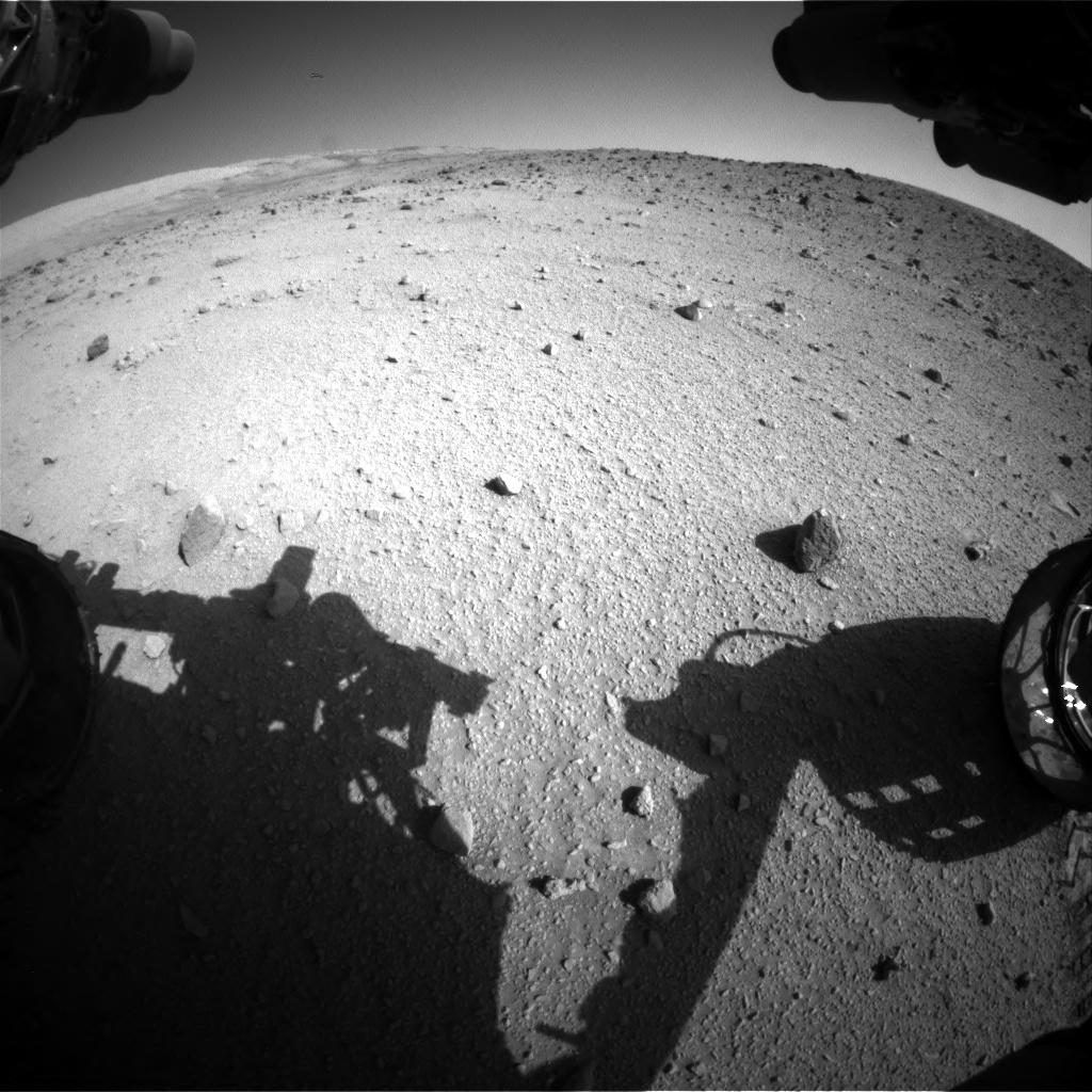 Nasa's Mars rover Curiosity acquired this image using its Front Hazard Avoidance Camera (Front Hazcam) on Sol 520, at drive 1208, site number 25
