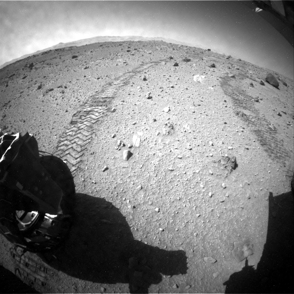 NASA's Mars rover Curiosity acquired this image using its Rear Hazard Avoidance Cameras (Rear Hazcams) on Sol 520