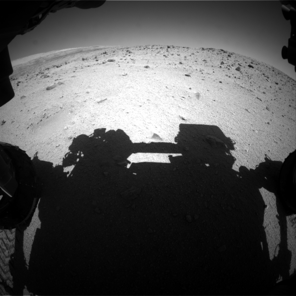 Nasa's Mars rover Curiosity acquired this image using its Front Hazard Avoidance Camera (Front Hazcam) on Sol 521, at drive 1238, site number 25